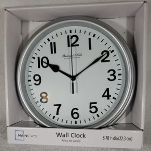 Sterling & Noble Round Wall Clock Silver